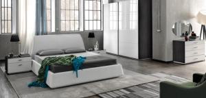 Bed met opbergruimte in leather like kleur wit uitvoering gecombineerd met kledingkast in wit hoogglans